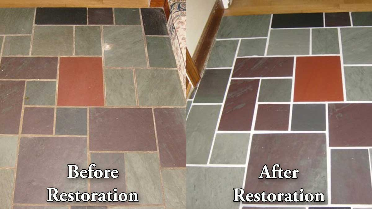 Dallas slate floor restoration cleaning polishing refinishing slate before and after restoration dailygadgetfo Gallery